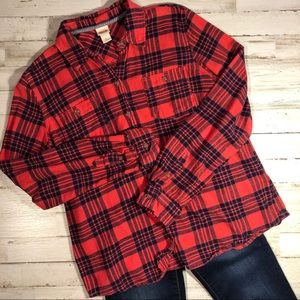 MOSSIMO Red & Blue Mid Weight Flannel Shirt
